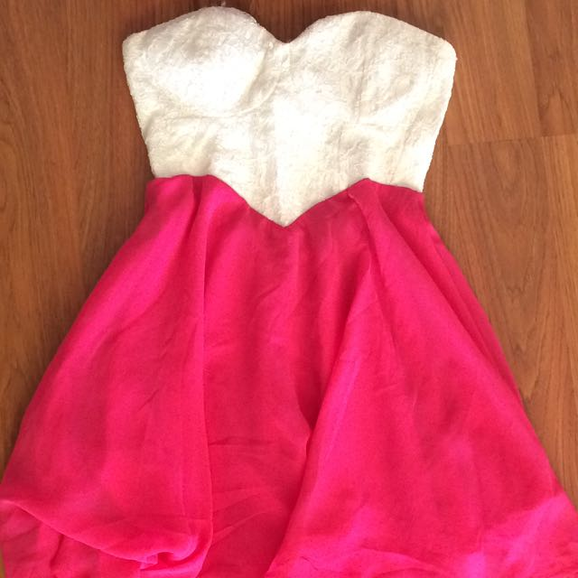 Pink And White Strapless Dress