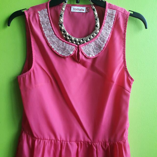 pink blouse with beads