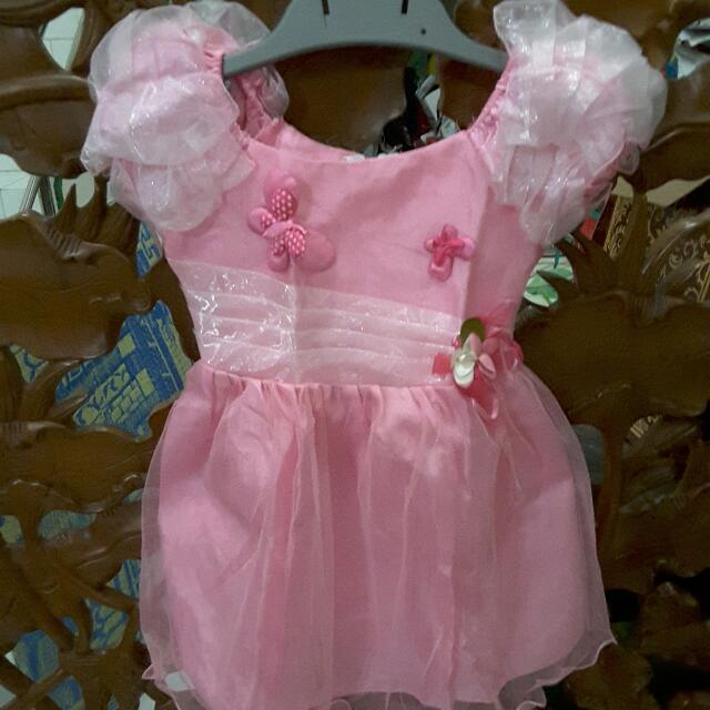 Pink Party Dress For 1 - 2 Years Old