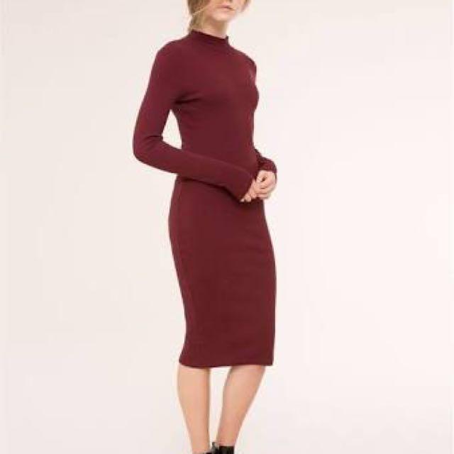 Pull & Bear Long Sleeve Bodycon Maxi Dress XS