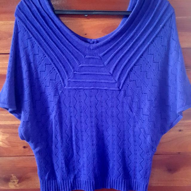 Purple Knitted Batwing Top