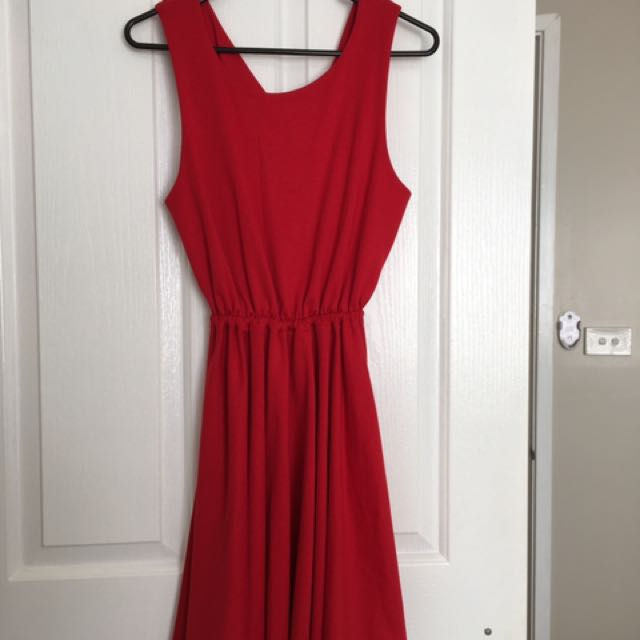 Red Dress With Criss Cross Back