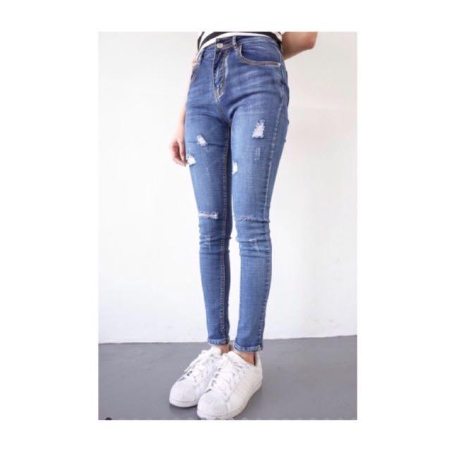 膝蓋破壞刷色牛仔褲(深藍/S號)