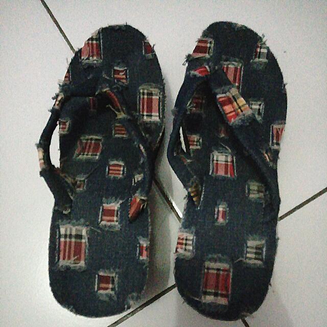 Sendal Wedges Bahan Jeans