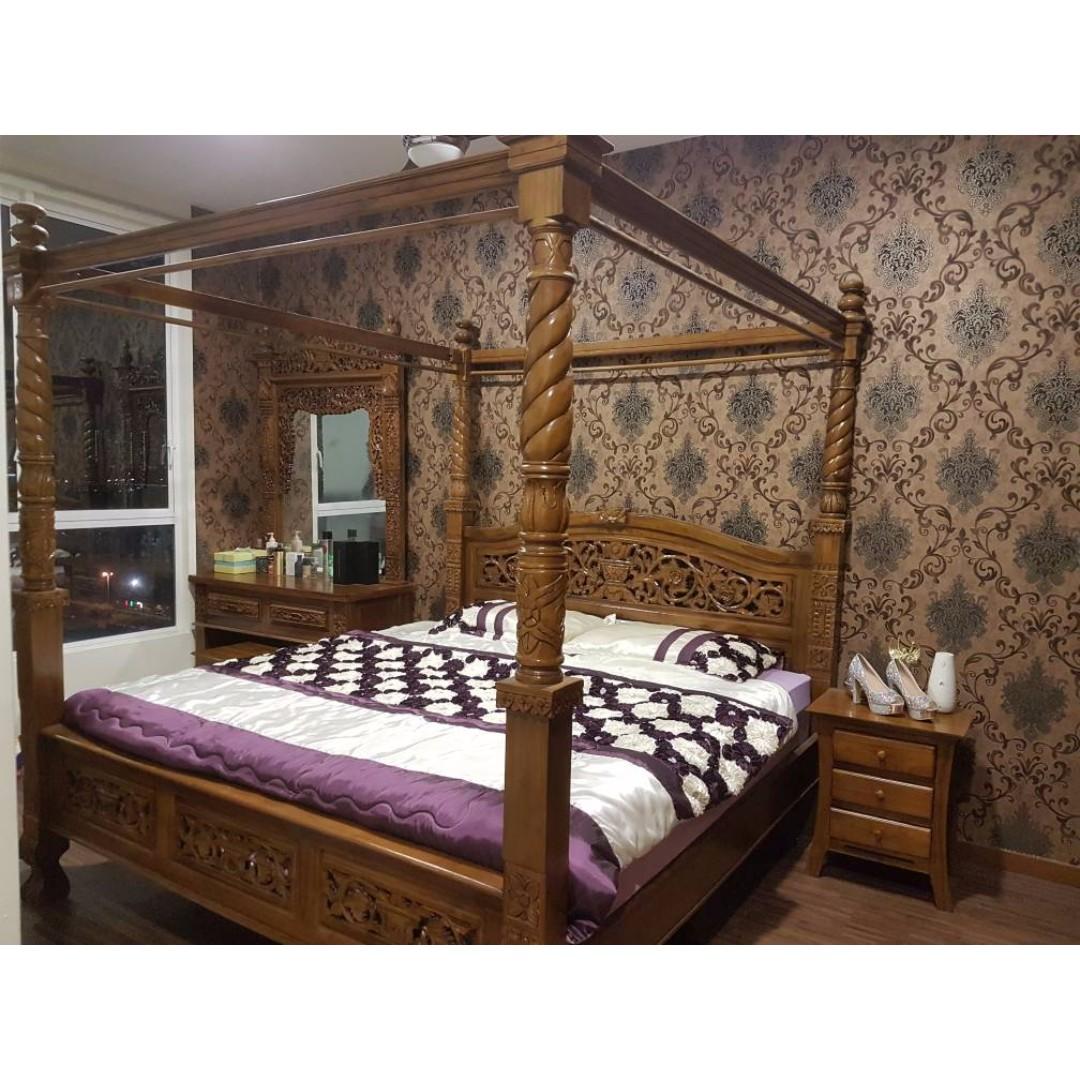Set Perabot Katil Kayu Jati King Size Home Furniture On Carou