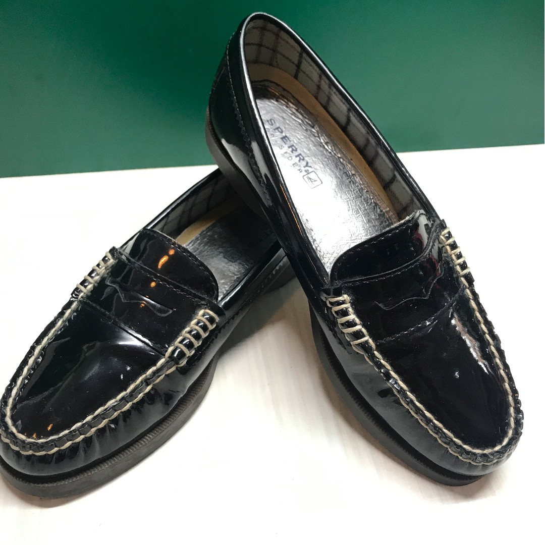 07bf6dff370 Sperry Top-Sider Black Patent Leather Loafers Size 36