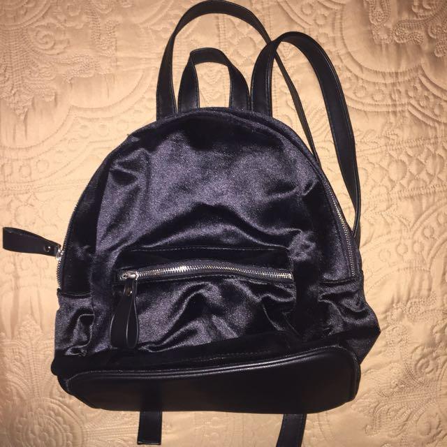 Stradivarius Black Velvet Backpack