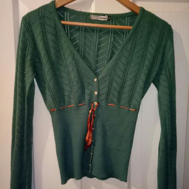 Suite 62 teal Cardigan 8 S Small