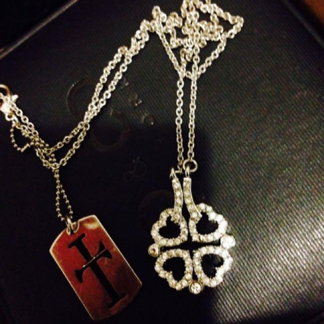 T Platinum Lucky Clover Heart Necklace
