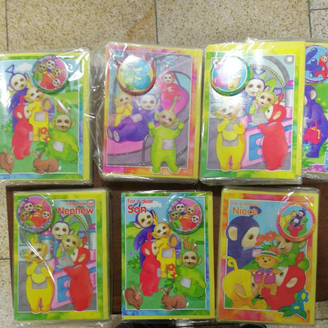 Teletubbies Birthday Cards With Pin Button 6 Each Vintage