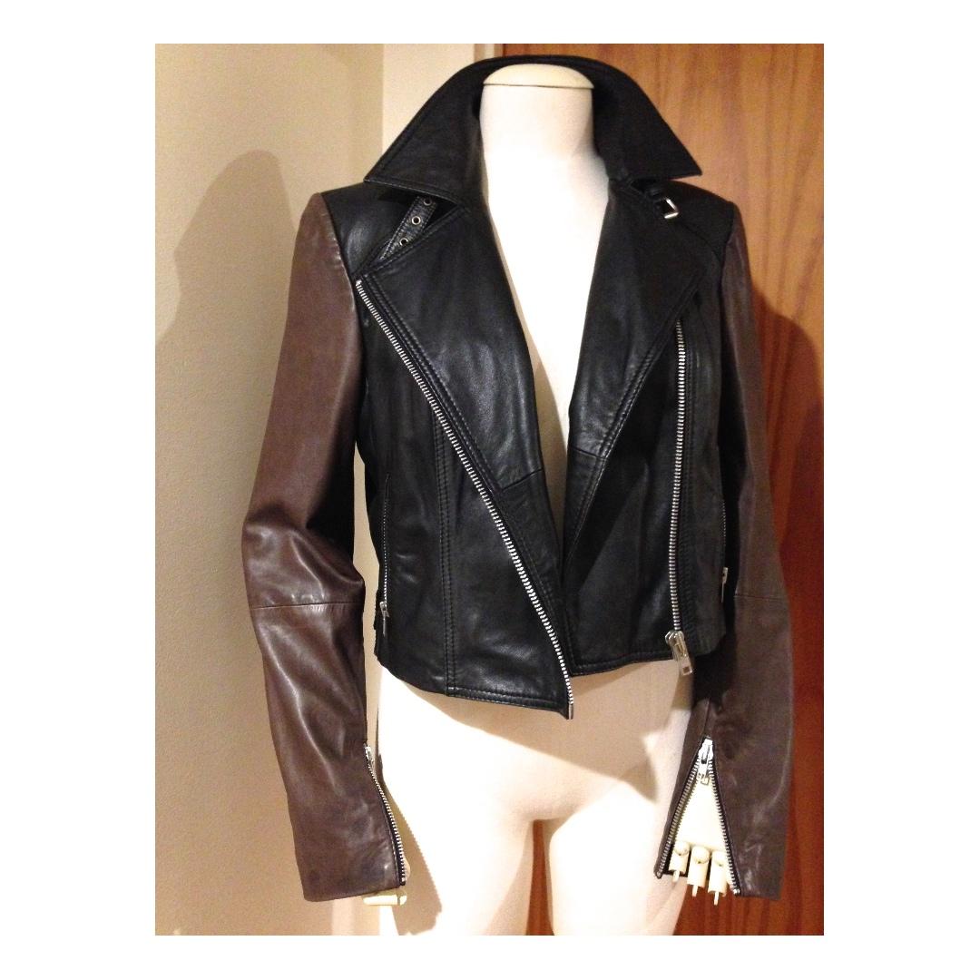 TOPSHOP colour block black brown biker Genuine Leather Jacket 14-16