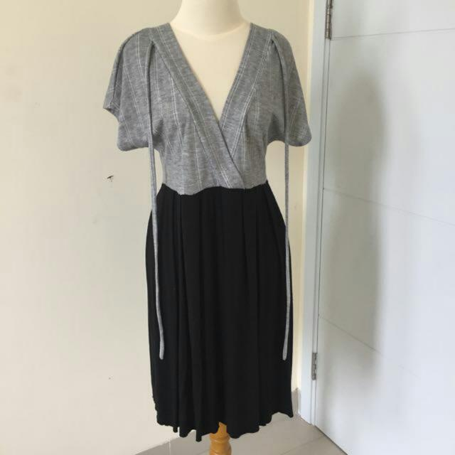 V Neck Dress Gray Abu Abu