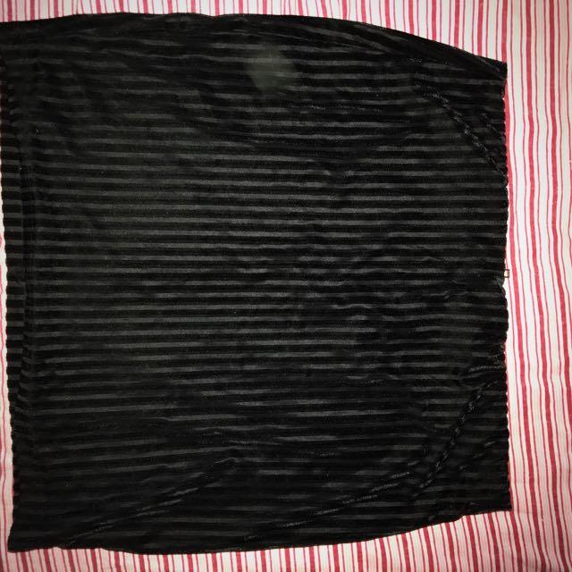 velvet black mini skirt