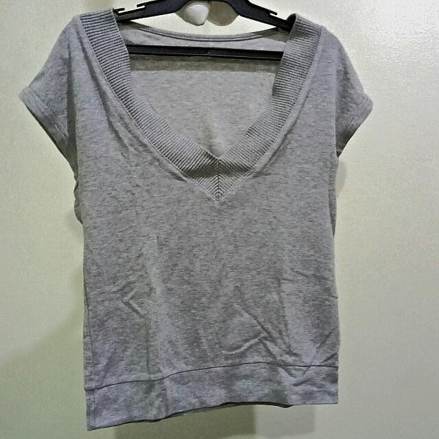 V-Neck Gray Top