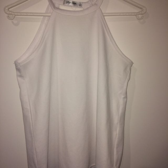 White Cut Out Singlet