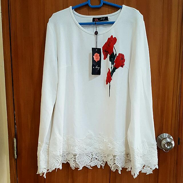 White Long Sleeves With Rose Design