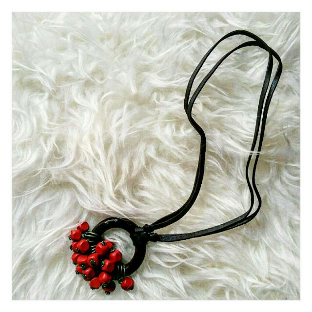 Wooden Necklace Red