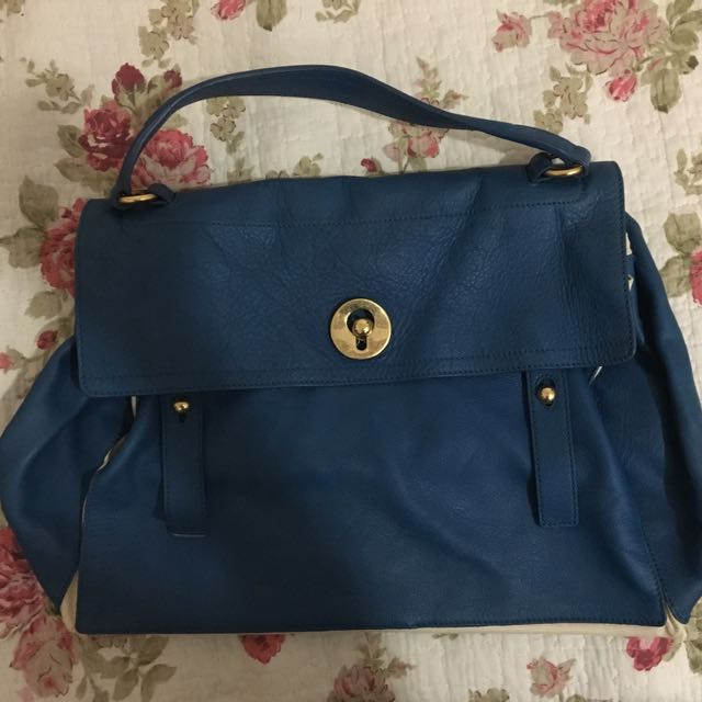42060cd377 Yves Saint Laurent YSL Large Blue White Muse 2 Bag Authentic