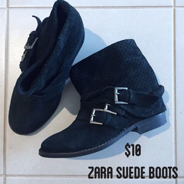 Zara Black Suede Boots Size 37