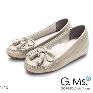 G.Ms. Q彈新主張-流蘇蝴蝶結真皮內增高豆豆鞋