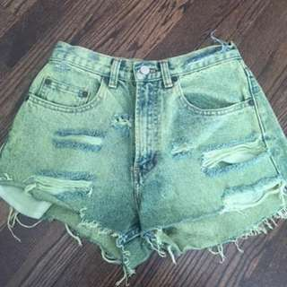 Vintage acid wash, high waisted shorts