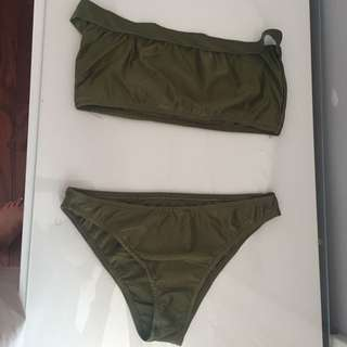 Two Piece Khaki Green Bandeau Bikini