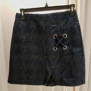 Zara 格紋短裙 深藍色