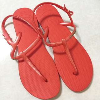 havaianas哈瓦仕Freedom橘紅色T字涼鞋#39