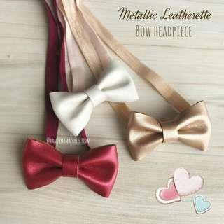 Metalic Leatherette Bow Headpiece