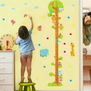 Cute Cartoon Animals Kids Height Wall Chart Sticker