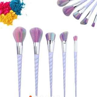 5 Pc Unicorn Make Up Brushes