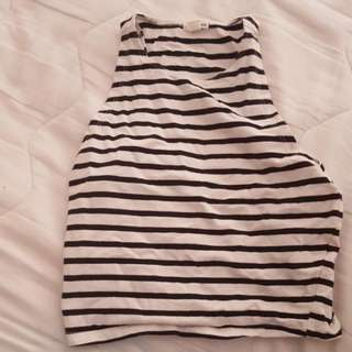 White With Black Stripe Top