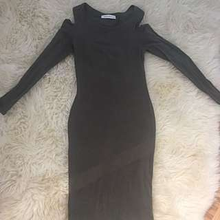 Mendocino Long Sleeve Cold Shoulder Olive Dress