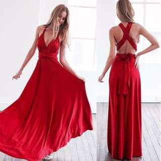 Multi-wrap Dress in Wine Red