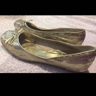 Gold Sequined Flats