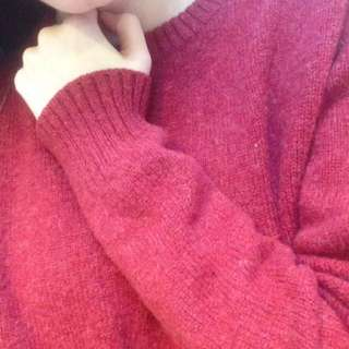 Red Maroon 100% Wool Knitted Jumper
