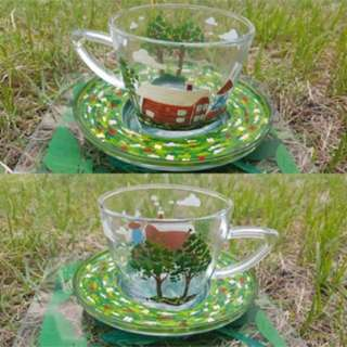 Hand painted Art On Glass Teacup