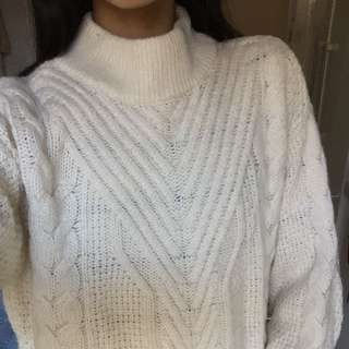 White Mock Neck Knit Jumper