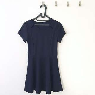 Navy Blue Cut Out Flare/Skater Dress