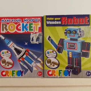 Wooden Robot And Rocket