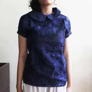 Atasan/Blouse/Top Brukat Navy by Minimal