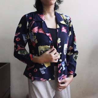 Casual Blazer Summer Semi Floral Printed for Office Look
