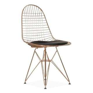Metal wire chair in gold