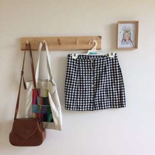 Pare Basic Gingham Button Up Skirt