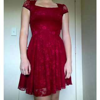 Boohoo Red Lace Dress