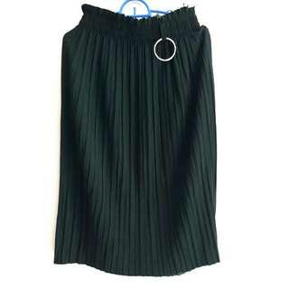 FREE ONGKIR Green Midi Platted Skirt