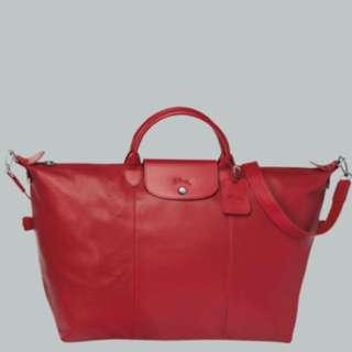 全新Longchamp小羊皮行李袋L號