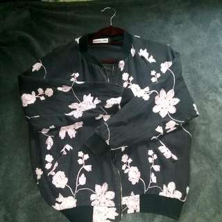 Black And Pink Floral Bomber Jacket