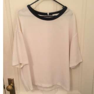 Trenery cream top with black lining size L