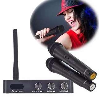智能家庭電視網絡卡拉OK唱歌設備聲卡 附兩個無線麥克風 Home KTV Karaoke system
